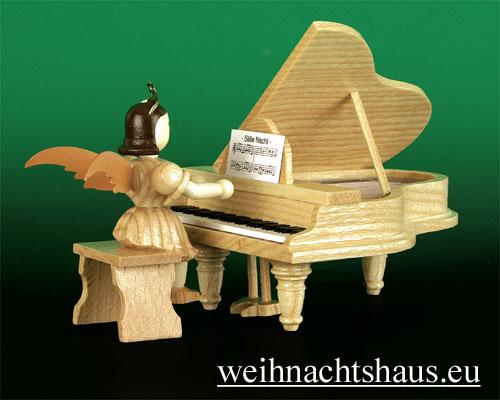 Seiffen Weihnachtshaus - Kurzrockengel natur Flügel - Bild 2