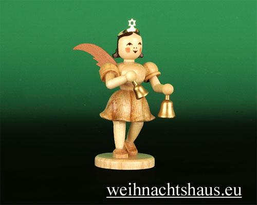 Seiffen Weihnachtshaus - Kurzrockengel natur Glocken - Bild 1