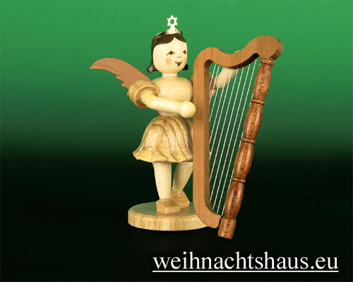 Seiffen Weihnachtshaus - Kurzrockengel natur Harfe - Bild 1
