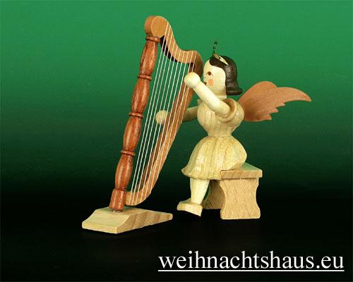 Seiffen Weihnachtshaus - Kurzrockengel Natur Harfe sitzend - Bild 1