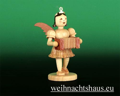 Seiffen Weihnachtshaus - Kurzrockengel natur Harmonika - Bild 1