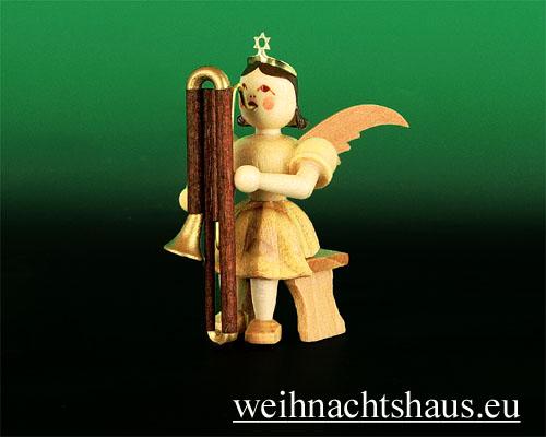 Seiffen Weihnachtshaus - Kurzrockengel natur Kontrafagott - Bild 1