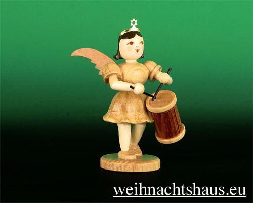 Seiffen Weihnachtshaus - Kurzrockengel natur Langtrommel - Bild 1