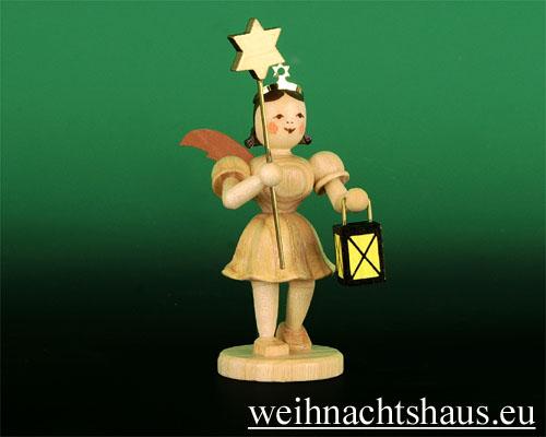 Seiffen Weihnachtshaus - Kurzrockengel natur Stern/Laterne - Bild 1