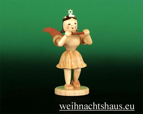 Seiffen Weihnachtshaus - Kurzrockengel natur Mundharmonika - Bild 1