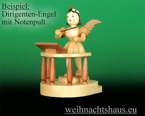 Seiffen Weihnachtshaus - Kurzrockengel natur Notenpult - Bild 2