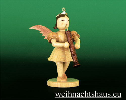 Seiffen Weihnachtshaus - Kurzrockengel natur Oboe - Bild 1
