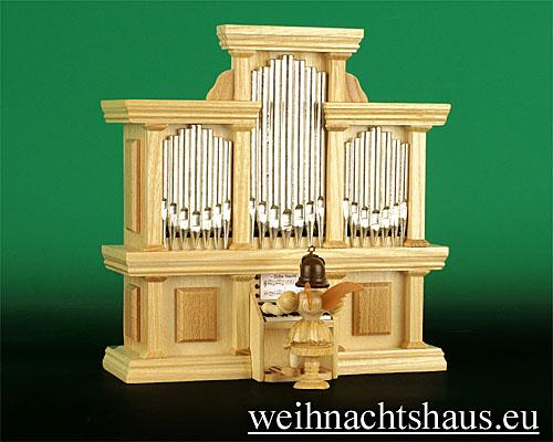 Seiffen Weihnachtshaus - Kurzrockengel natur Orgel - Bild 1