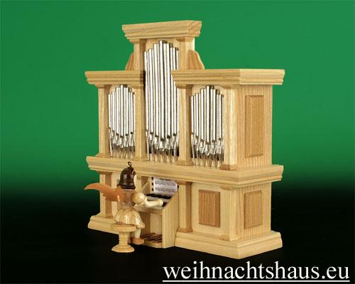 Seiffen Weihnachtshaus - Kurzrockengel natur Orgel - Bild 2