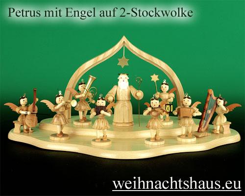 Seiffen Weihnachtshaus - Kurzrockengel natur Petrus - Bild 2