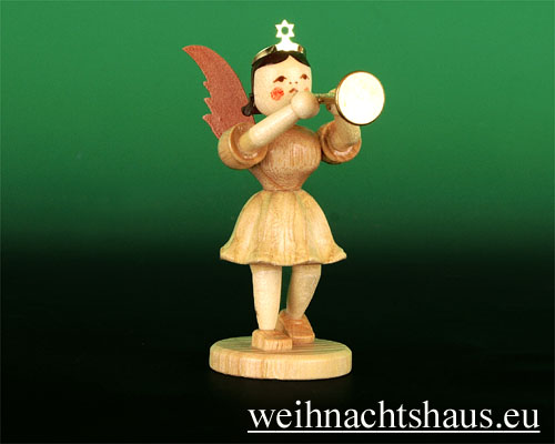 Seiffen Weihnachtshaus - Kurzrockengel natur Posaune - Bild 1