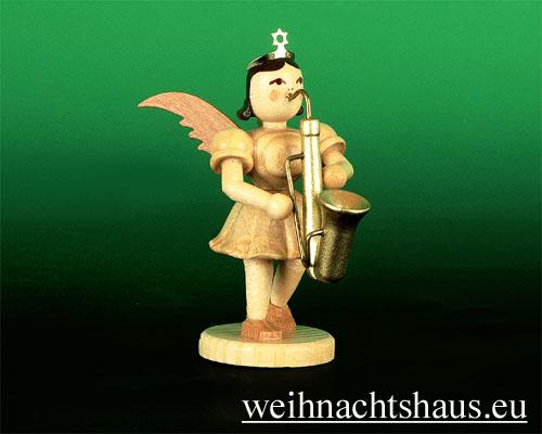 Seiffen Weihnachtshaus - Kurzrockengel natur Saxophon - Bild 1