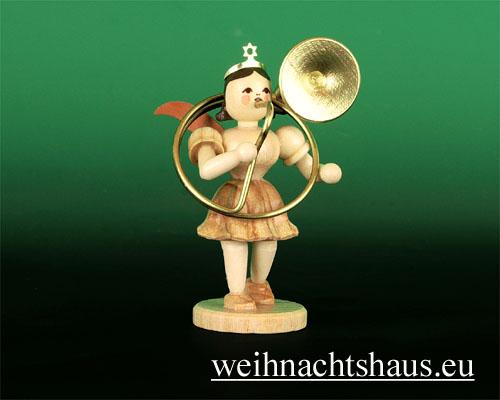 Seiffen Weihnachtshaus - Kurzrockengel natur Sousaphon - Bild 1