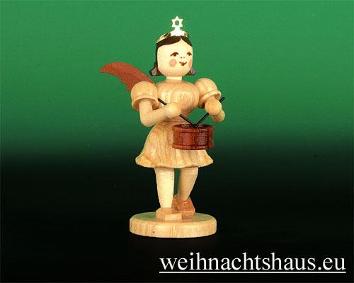 Seiffen Weihnachtshaus - Kurzrockengel natur Trommel - Bild 1