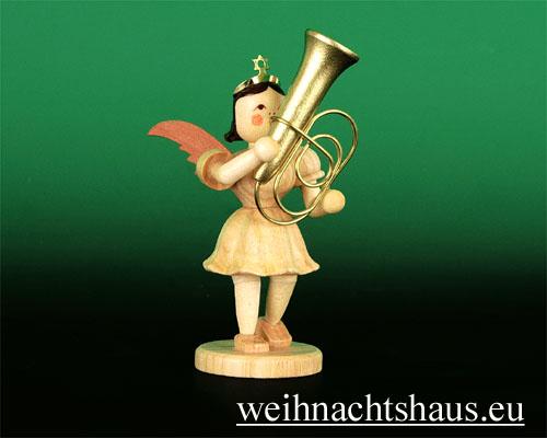 Seiffen Weihnachtshaus - Kurzrockengel natur Tuba - Bild 1