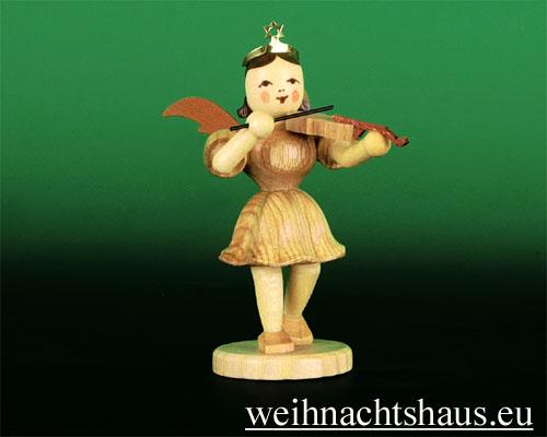 Seiffen Weihnachtshaus - Kurzrockengel natur Violine - Bild 1