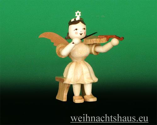 Seiffen Weihnachtshaus - Kurzrockengel natur Violine sitzend - Bild 1