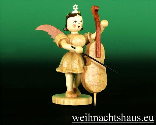 Seiffen Weihnachtshaus - Kurzrockengel natur Violoncello - Bild 1