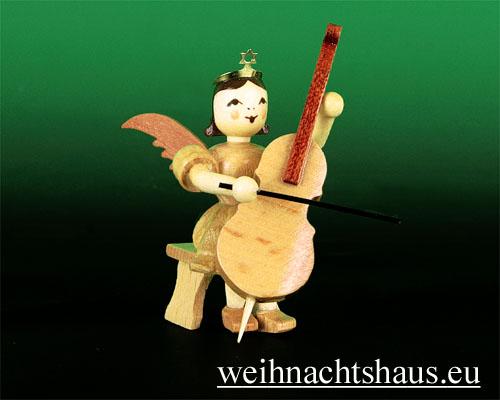 Seiffen Weihnachtshaus - Kurzrockengel natur Cello sitzend - Bild 1