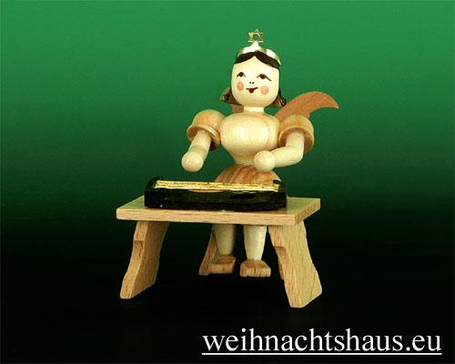 Seiffen Weihnachtshaus - Kurzrockengel natur Zither - Bild 1