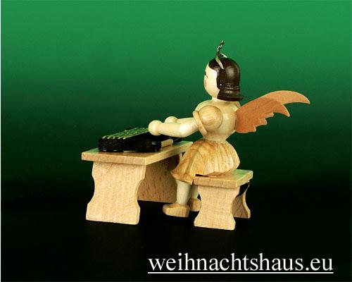 Seiffen Weihnachtshaus - Kurzrockengel natur Zither - Bild 2