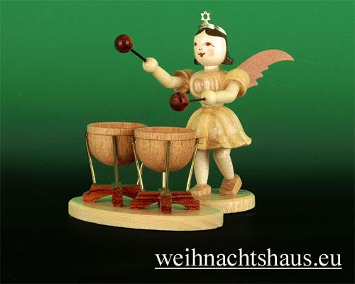 Seiffen Weihnachtshaus - Kurzrockengel natur doppelte Kesselpauke - Bild 1