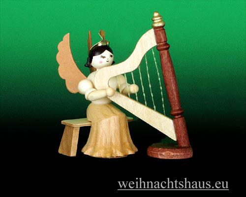 Seiffen Weihnachtshaus - Langrockengel natur Harfe - Bild 1