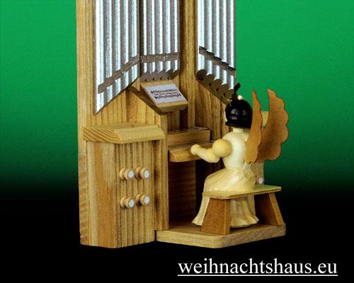 Orgel mit Engel Erzgebirge aus Holz Langrockengel natur Orgelorchester Engelorchester Orchesterorgel