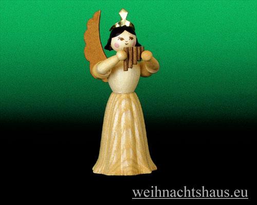 Seiffen Weihnachtshaus - Langrockengel natur Panflöte - Bild 1