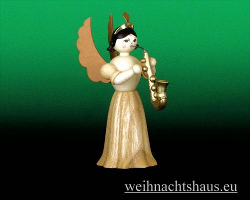 Seiffen Weihnachtshaus - Langrockengel natur Saxophon - Bild 1