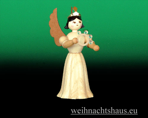 Seiffen Weihnachtshaus - Langrockengel natur Schellenring - Bild 1