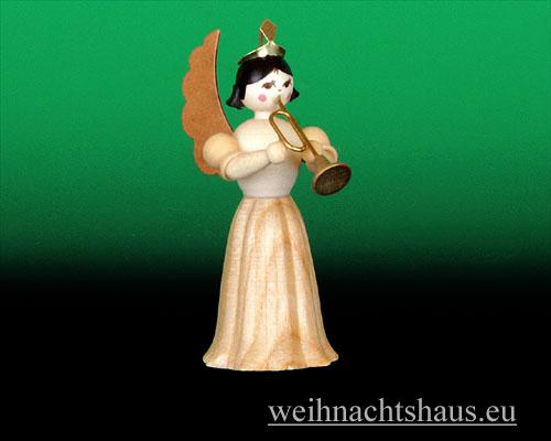 Seiffen Weihnachtshaus - Langrockengel natur Trompete - Bild 1