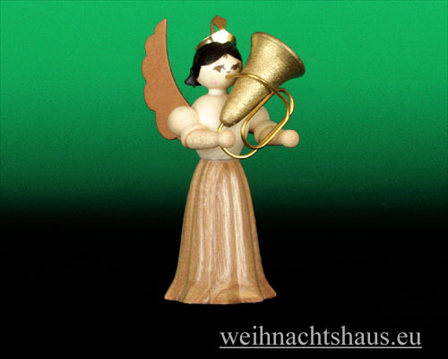 Seiffen Weihnachtshaus - Langrockengel natur Tuba - Bild 1