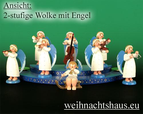 Seiffen Weihnachtshaus - Wolke farbig 2-stufig - Bild 2