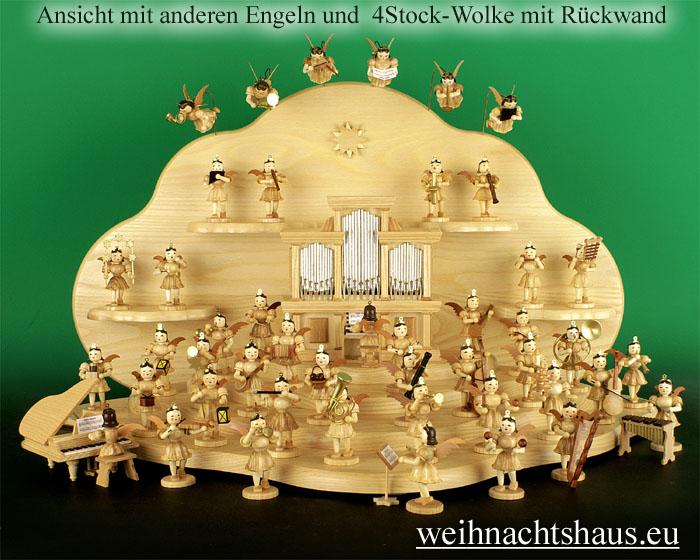 Seiffen Weihnachtshaus - Kurzrockengel natur Baß sitzend - Bild 2