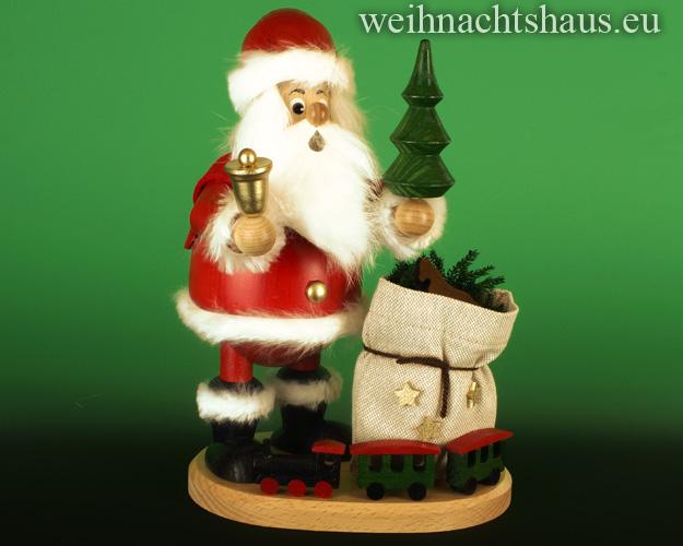 Seiffen Weihnachtshaus - <!--03-->Räuchermann großer Wichtel Weihnachtsmann mit Eisenbahn - Bild 1