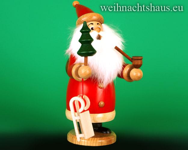 Seiffen Weihnachtshaus - <!--03-->Räuchermann Wichtel Weihnachtsmann mit Baum - Bild 1