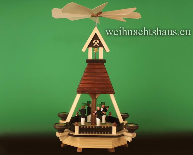Seiffen Weihnachtshaus - Hauspyramide mit Bergmänner - Bild 1
