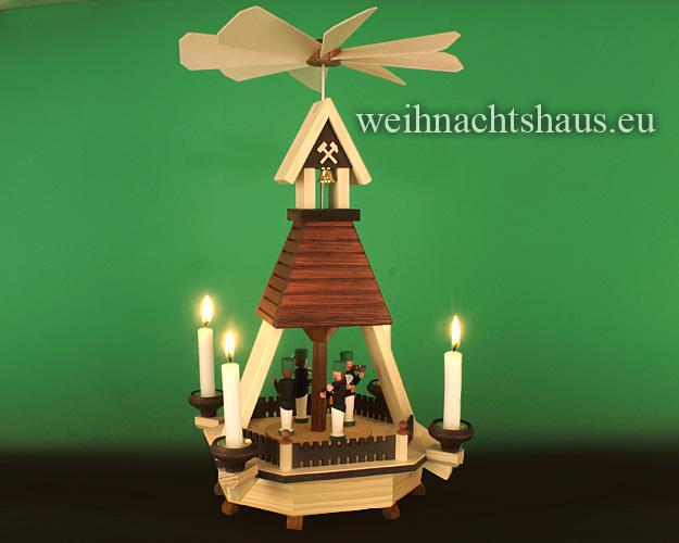 Seiffen Weihnachtshaus - Hauspyramide mit Bergmänner - Bild 2