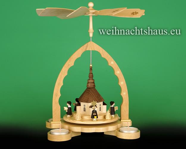 Seiffen Weihnachtshaus - Teelichtpyramide Seiffener Kirche - Bild 1