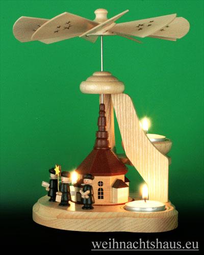 Seiffen Weihnachtshaus - Teelichtpyramide Seiffener Kirche - Bild 2