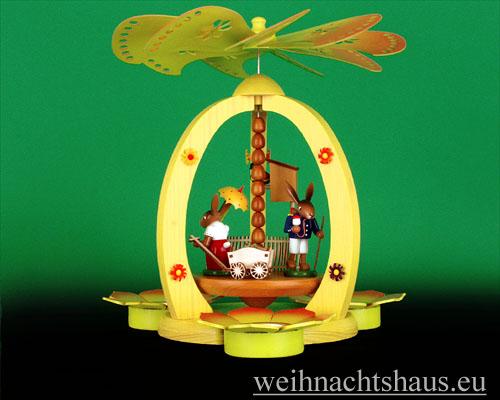 Seiffen Weihnachtshaus - <!--01-->Teelichtpyramide Osterhase mit Handwagen - Bild 1