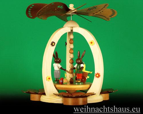 Seiffen Weihnachtshaus - <!--01-->Teelichtpyramide Osterhase mit Leiterwagen - Bild 1