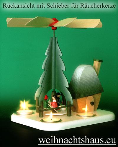 Seiffen Weihnachtshaus - Teelichtpyramide  Weihnachtsmann mit Rauchhaus - Bild 2