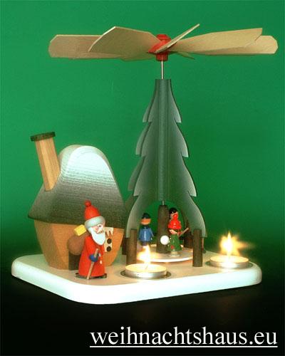 Seiffen Weihnachtshaus - Teelichtpyramide  Weihnachtsmann mit Rauchhaus - Bild 3