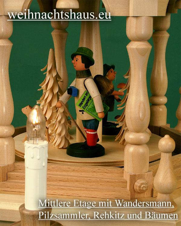 Seiffen Weihnachtshaus - 3 Stock Stufenpyramide 109 cm mit Erzgebirgsfiguren - Bild 2