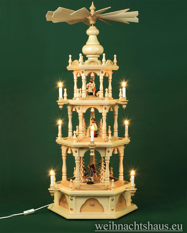 Seiffen Weihnachtshaus - 3 Stock Stufenpyramide 109 cm mit Erzgebirgsfiguren - Bild 1