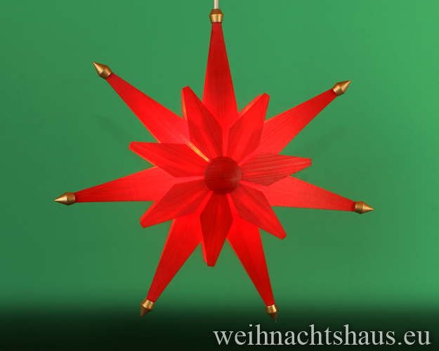 Seiffen Weihnachtshaus - Weihnachstern aus Holz natur 40 cm doppelt Rot - Bild 1