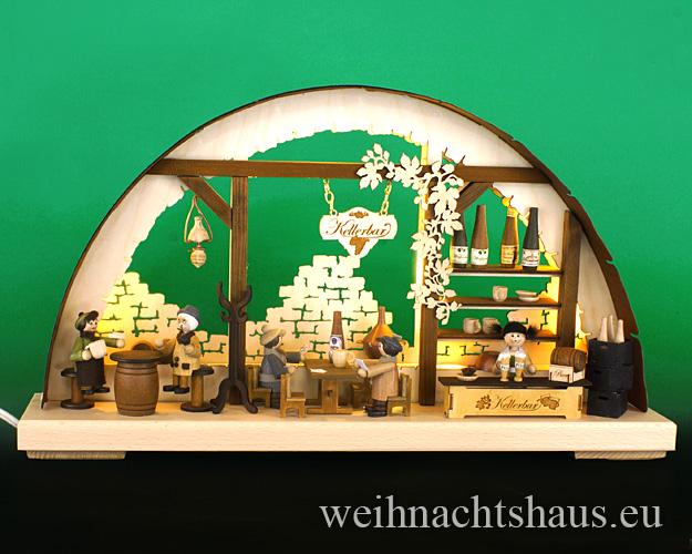 Seiffen Weihnachtshaus - Doppelschwibbogen Erzgebirge 10 Kerzen Weinkeller 43 cm - Bild 1