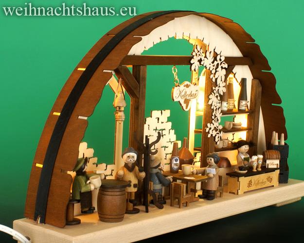 Seiffen Weihnachtshaus - Doppelschwibbogen Erzgebirge 10 Kerzen Weinkeller 43 cm - Bild 2